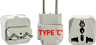 Type 'C' European Travel Plug Adapter